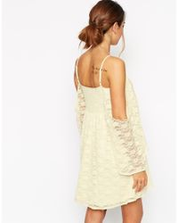 ASOS - Natural Skater Dress In Lace With Cold Shoulder And Flared Sleeves - Lyst
