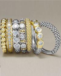 Lagos   Metallic 18k Gold/silver Caviar 5-diamond Stacking Ring   Lyst