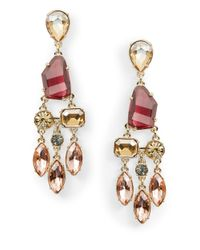 ABS By Allen Schwartz | Metallic Stone Chandelier Earrings | Lyst