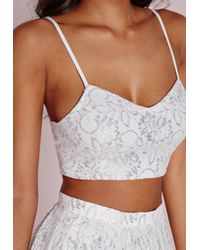 Missguided | Metallic Lace Detail Bralet Silver | Lyst