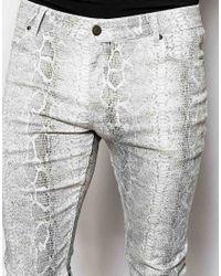 ASOS - Gray Super Skinny Jeans In White Reptile Look for Men - Lyst