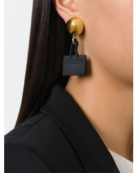 Moschino | Black Logo Tag Clip-on Earrings | Lyst