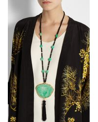 Kenneth Jay Lane - Green Beaded Resin Necklace - Lyst