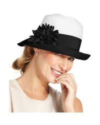 Nine West | Black Cloche with Flower Pin | Lyst