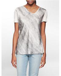 Calvin Klein | Gray Jeans Snake Print Short Sleeve Top | Lyst