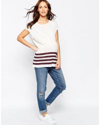 ASOS   White T-shirt In Slouchy Rib With Stripe Hem   Lyst