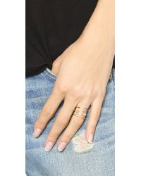 Elizabeth and James | Metallic Sol Ring - Gold/clear | Lyst