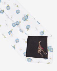 Ted Baker | Blue Floral Print Tie for Men | Lyst