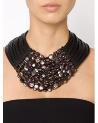 Monies - Black Multistrand Necklace - Lyst