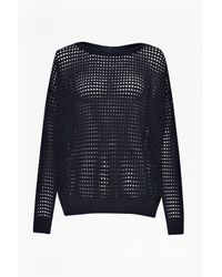 French Connection | Blue Perforated Stitch Crazy Knit | Lyst