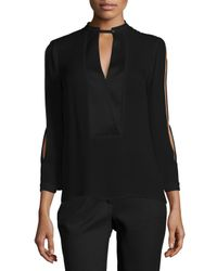 Halston | Black Mandarin Collar Slit-sleeve Silk Blouse | Lyst