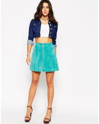 ASOS - Blue A-line Skirt In Suede With Zip Through Detail - Lyst