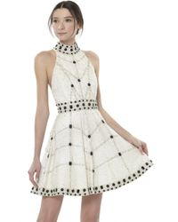 Alice + Olivia - White High Neck Short Flare Gown - Lyst
