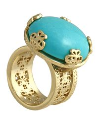 Kendra Scott - Blue Tyra Wide Filigree Turquoise Ring Size 6 - Lyst