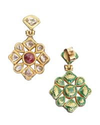 Amrapali - Red Ruby And Diamond Drop Earrings - Lyst