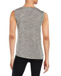 DKNY | Gray Roundneck Knit Top | Lyst