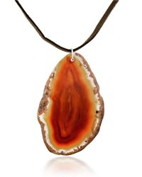 Lord & Taylor | Orange Agate Pendant Long Leather Necklace | Lyst