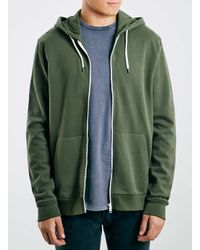 TOPMAN - Green Khaki Zip Through Hoodie for Men - Lyst