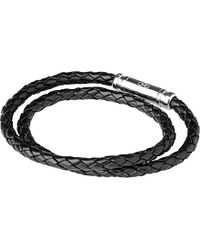Links of London - Black Venture Double-wrap Leather Bracelet - Lyst