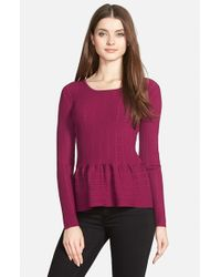 Cece by Cynthia Steffe - Purple Pointelle Ribbed Peplum Sweater - Lyst