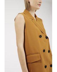 TOPSHOP - Natural Premium Sleeveless Jacket - Lyst