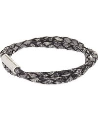 Tateossian - Gray Xxv Anniversary Scoubidou Double-wrap Bracelet, Men's, Grey for Men - Lyst
