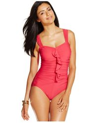 INC International Concepts | Red Ruffled One-piece Swimsuit | Lyst