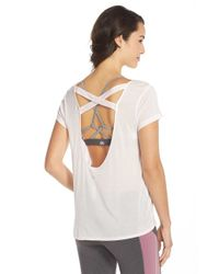 Alo Yoga | Pink 'hailey' Crisscross Open Back Tee | Lyst