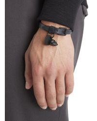 Alexander McQueen - Blue Navy Skull Embellished Leather Bracelet for Men - Lyst