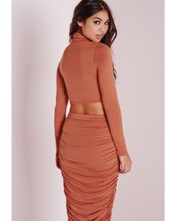 Missguided - Brown Roll Neck Crop Top Rust - Lyst