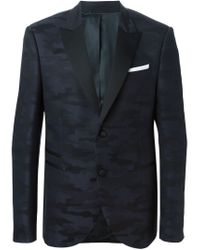 Neil Barrett - Blue Camouflage Jacquard Blazer for Men - Lyst