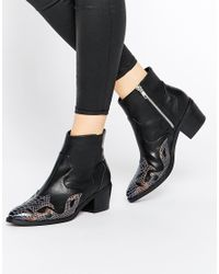 ASOS | Black Rutland Western Ankle Boots | Lyst