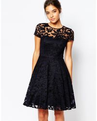 Ted Baker - Blue Caree Sheer Lace Overlay Dress - Lyst