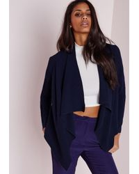 Missguided | Blue Waterfall Blazer Navy | Lyst