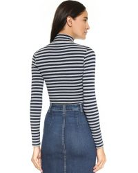 Capulet | Blue Long Sleeve Turtleneck Bodysuit - Navy/heather Grey Stripe | Lyst