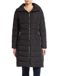 Calvin Klein | Black Zip-front Puffer Coat | Lyst