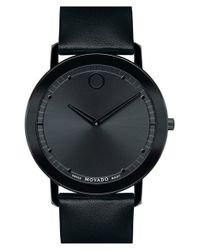 Movado | Black 'sapphire' Leather Strap Watch for Men | Lyst
