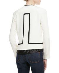 Parker | White Liam Twotone Open Jacket | Lyst