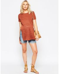 ASOS | Brown Tunic With Side Splits With Short Sleeves | Lyst