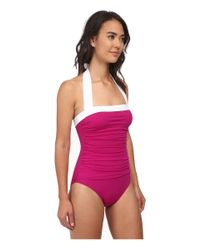 Lauren by Ralph Lauren - Pink Bel Aire Shirred Bandeau Mio Slimming Fit W/ Soft Cup - Lyst