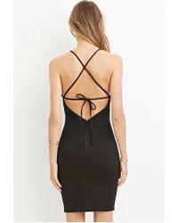 Forever 21 - Black Strappy Bodycon Dress - Lyst