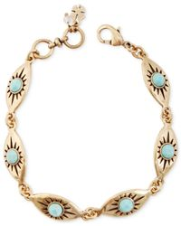 Lucky Brand | Blue Gold-tone Turquoise Link Bracelet | Lyst