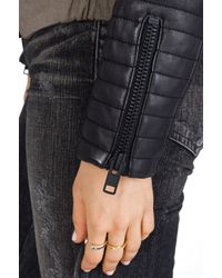 Maison Scotch - Green Military Jacket with Leather Sleeves - Lyst