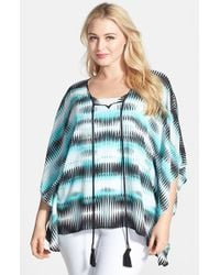 Vince Camuto | Blue 'linear Echoes' Caftan Style Top | Lyst
