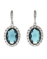 Carolee | Blue Silver-Tone Oval Drop Earrings | Lyst