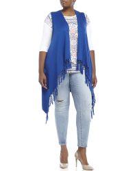 Joseph A - Blue Plus Size Sleeveless Fringe Cardigan - Lyst