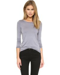 Three Dots | Blue Open Crew Neck Top - Rich Silver | Lyst