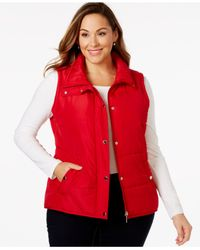 Style & Co. | Red Style&co. Sport Plus Size Quilted Snap-button Vest, Only At Macy's | Lyst