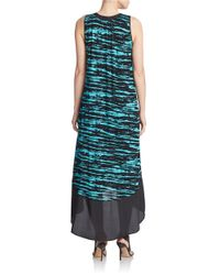 Kensie | Blue Scratched Stripes Hi-lo Dress | Lyst
