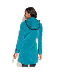 London Fog   Blue Singlebreasted Hooded Raincoat with Plaid Scarf   Lyst